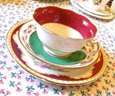Vintage Mismatched Tea Trio in Red and Green - Tea Set of Crescent & Sons and Aynsley - Tea Cup, Saucer and Plate -