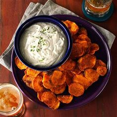 Spicy Sweet Potato Chips & Cilantro Dip Recipe from Taste of Home -- shared by Libby Walp of Chicago, Illiniois