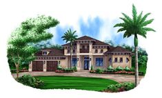 House Plan 78112 | Mediterranean Plan with 4016 Sq. Ft., 4 Bedrooms, 5 Bathrooms, 2 Car Garage
