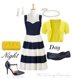 eShakti fifties colorblock dress with day and night accessories.