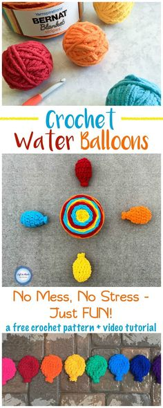 A FREE crochet pattern, Eco friendly water balloons that will bring you hours of summer fun in the sun! Made with Bernat Blanket Stripes yarn, this is a fast project and perfect for beginners! Reusable, latex free, and no mess!  This pattern now has a com