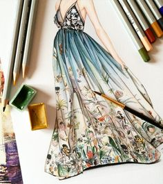 very detailed watercolor dress art by doll_memories