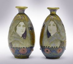 A pair of porcelain vases by Paul Dachsel for Amphora, Austria circa 1905.