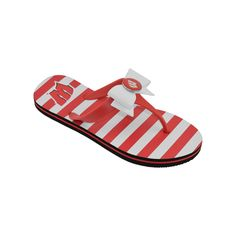 Women's College Edition Wisconsin Badgers Bow Flip-Flops, Size: Medium, Red