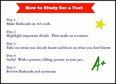 How to Study for a Test (with printable)