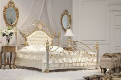 Bedroom Interior Design with Classical Wrought Iron Bed Picture