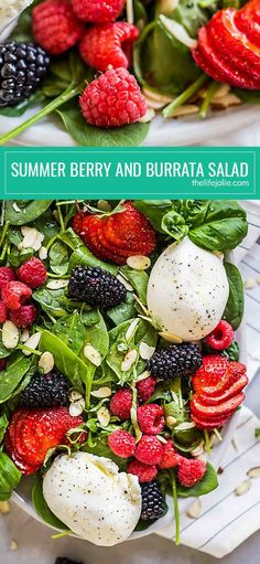 Summer Berry and Burrata Salad is a healthy and delicious recipe. It's easy to make with baby spinach, berries, sliced almonds and creamy Burrata cheese with a homemade honey vinaigrette. This makes a festive side for entertaining guests or a great main d Burrata Salad, Burrata Cheese, Cheese Salad, Berry Salad, Summer Berries, Healthy Salad Recipes, Healthy Meals, Healthy Life, Healthy Food