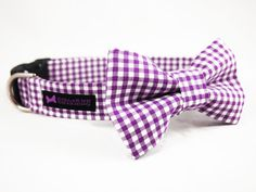 Purple Gingham Dog Collar Bow Tie Set by CollarMeCharming on Etsy