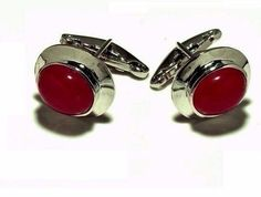 Exclusive-925 Sterling Silver Natural Precious Ruby cabochon  Men's Cufflinks #SimSimSilver