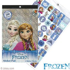 DISNEY'S FROZEN STICKER PADS. With over 200 stickers on 4 pages, these will delight any Elsa, Anna or Olaf fan. Perfect for scrapbooking, Easter basket treats and party favors.  Size 9.5 X 6 Inches
