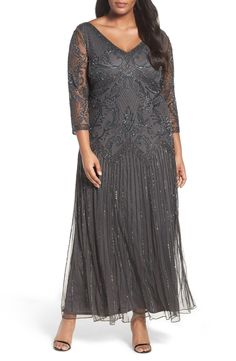 Pisarro Nights Embellished Double V-Neck Long Dress (Plus Size) available at #Nordstrom