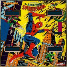 "Amazing Spider-Man pinball machine art, 1980. Gottlieb's The Amazing Spider-Man, from 1980, was the first of the classic ""System 80"" series pinball machines. The machine was designed by Ed Krinski with art by Gordon Morison."