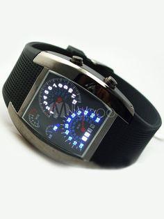 Diver LED Men Digital Watch Blue Light Dot Matrix Watch - Milanoo.com