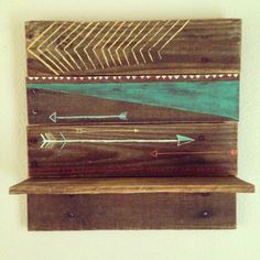 2014 Trend: Rustic Modern This hand painted shelf seamless mixes two of Project Nursery's top trends for arrows and rustic/cabin decor! Arrow Nursery, Wood Nursery, Nursery Ideas, Neat Pallet Ideas, Reclaimed Wood Shelves, Wood Shelf, Arrow Baby Shower, House Design Photos, Rustic Cabin Decor