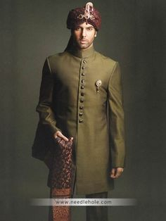 Plain #cotton silk #groom #sherwani in dark #olive drab color, buttons detail and broche on front http://www.needlehole.com/plain-cotton-silk-wedding-sherwani-for-groom-in-dark-olive-drab-color.html #Hsy plain #sherwani and men's sherwani suits london pfw. Beautiful pakistani #wedding sherwani and #indian men's sherwani suits collection by hsy men's stores in london