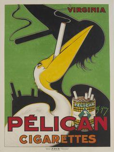Pélican Cigarettes 1920 Original Poster – Rue Marcellin Original Vintage Posters & Prints @Rue Mapp Mapp Marcellin ruemarcellin.com