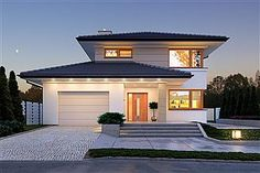 Karat storey house design with an area with garage, with envelope roof, with terrace, check it out! Home Room Design, Home Design Plans, House Design, Style At Home, Residential Architecture, Modern Architecture, Morden House, Bungalow, Modern Family House