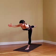 Morning Yoga Moves: Warrior 3. Practice this position in the A.M. and reap some seriously centered benefits for your day. #SelfMagazine