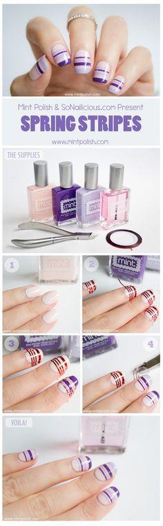 Purple Nails - Spring Nail Art Tutorial #SoNailiciousXMint #nailart nail design. Polish. Polishes.