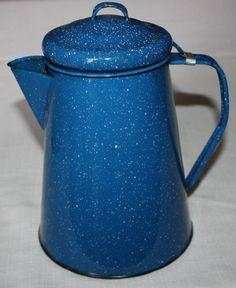 "Vintage Large 10 ½"" Primitive Enamelware Blue Speckled Kitchen Coffee Kettle #Collectible"