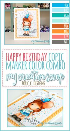 Happy Birthday Copic Marker Color Combo & C.C. Designs Birthday Blog Hop