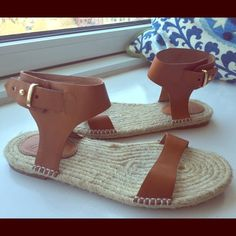 JOIE LIKE NEW BROWN LEATHER ESPADRILLES SANDALS Worn once! Bought at Barney's for $295 Joie Shoes Espadrilles
