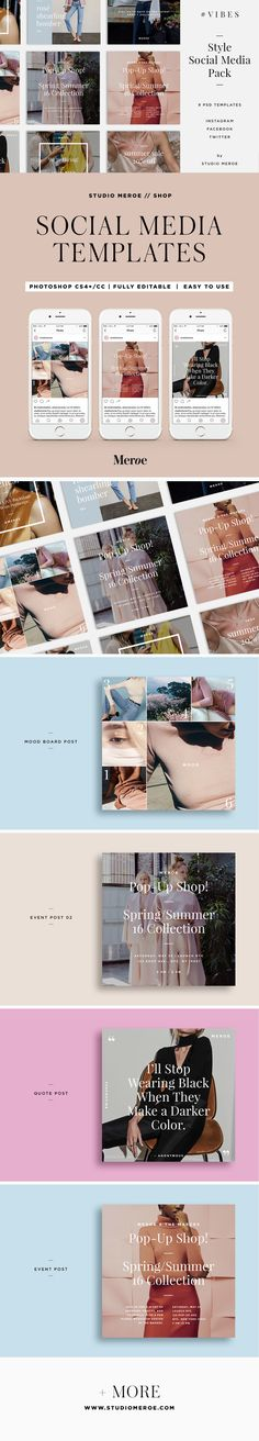 VIBES Social Media Templates | Fully Editable,  Easy to Use | PSD | Feminine minimalist design | Created with bloggers, stylists, creators, & makers in mind | Social Media banners | Elevate your branding | Click to SHOP | STUDIO MEROE on @creativemarket