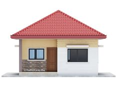 This 3 bedroom house design has a total floor area of 82 square meters. Minimum lot size required for this design is 167 square meters with 10 meters lot width to maintain meters setback both side. Modern Bungalow House Design, House Roof Design, Simple House Design, Square House Plans, My House Plans, Small House Plans, House Layout Plans, House Layouts, Bungalow Floor Plans