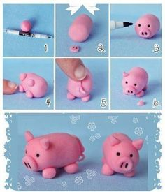 How to DIY Cute Fondant Animals - fimo - Animals Fondant Figures, Fondant Toppers, Fondant Cakes, Fondant Icing, 3d Cakes, Mini Cakes, Polymer Clay Projects, Diy Clay, Decors Pate A Sucre