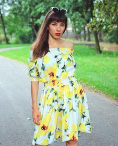 ootd with off the shoulder lemon dress: http://jointyicroissanty.blogspot.com/2017/08/off-shoulder-lemon-dress.html
