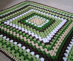 Granny Square Blanket for Baby  Greens, Browns and White