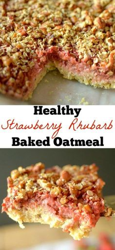 This Strawberry Rhubarb Crisp Baked Oatmeal is the perfect healthy breakfast that tastes like dessert. It's filled with fresh summer fruit and is vegan & gluten-free and helps a company with a great m Rhubarb Oatmeal, Oatmeal Crisp, Strawberry Rhubarb Crisp, Oatmeal Bars, Strawberry Breakfast, Gluten Free Oatmeal, Vegan Gluten Free, Butter Chicken, Oatmeal Toppings