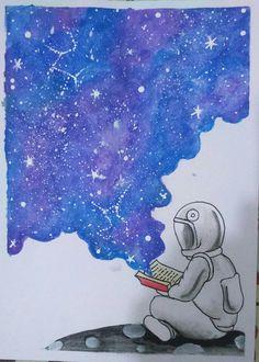 """Ilustração """"Cada livro esconde um universo"""" para o Desafio Universo do grupo Jornada Criativa por Rodrigo Falco."""