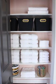 our linen closet makeover, blush pink, benjamin moore love & happiness, black white and gold, before and after