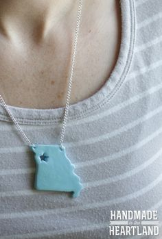 Show your hometown pride with a DIY handmade state necklace. :)
