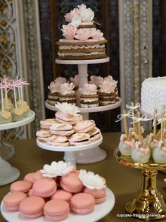 gold and pink sweet table