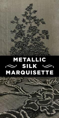 Florals on Taupe Metallic Silk Marquisette Panel #Fashion #Flower #Pattern