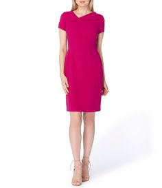 Tahari ASL Envelope Neckline Crepe Shift Dress