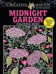 Adult Coloring Books - Creative Haven Midnight Garden Coloring Book: Black Background