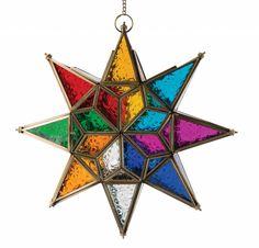 Marokko - Hangende ster lantaarn met meerkleurig glas