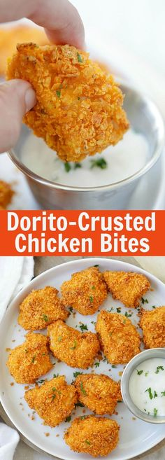 Tortilla Chip-crusted Chicken Bites – coated with crispy tortilla chips and baked to perfection. 10 minutes active time and dinner is ready   rasamalaysia.com