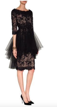 984058a735 Marchesa crystal embroidered silk lace dress in black