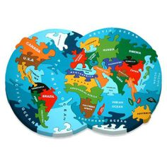 An ambitious and challenging real wood jigsaw with pieces representing the major countries, seas and oceans. A beautifully shaped jigsaw that makes a great talking point. A brilliant way for children to relate to their place in the World. Hand crafted, hand painted real wood jigsaw puzzle helps make learning fun.