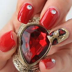 Red Nails With Hearts!!!!!!!!!!