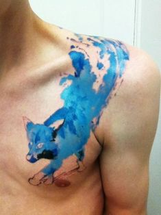 Men's Watercolor Chest Tattoos