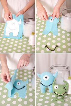 Sewing party parting gifts: monster stuffies to take home and sew!