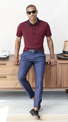 40 Best Dress Pants For Men to Look like a Model is part of Mens dress pants - Guys, business meetings or casual hangout with pals; it could be anything but best dress pants for men to look like a model can truly gain you a model look Polo Shirt Outfits, Polo Outfit, Men's Polo Shirts, Polo Shirt Style, Stylish Men, Men Casual, Moda Men, Tennis Shirts, Neue Outfits
