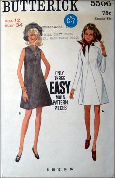 Vintage 1960s -Symmetrical A-Line Dress -Sewing Pattern -Two Styles- European Mod Couture Style- Size 12 -Rare. $10.00, via Etsy.