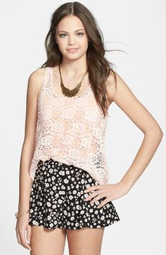 Frenchi® Sheer Lace Tank (Juniors) available at #Nordstrom