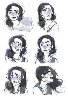 expression sheet for my ongoing project! The heroin need some fixes but here is the first pass! #Characterdesign
